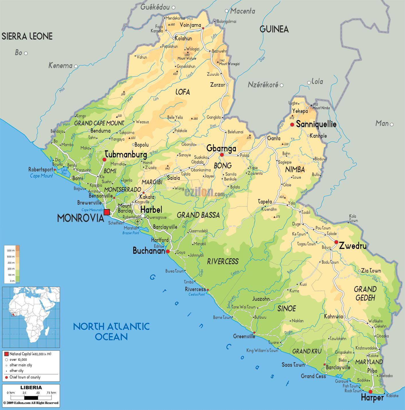 Image of: Map Of Liberia Draw The Map Of Liberia Western Africa Africa