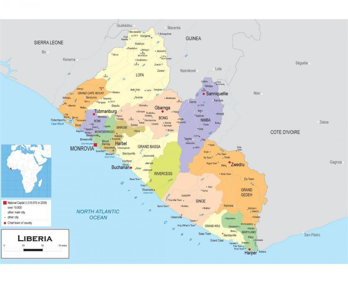 Draw the political map of Liberia - Map of draw the political map of ...