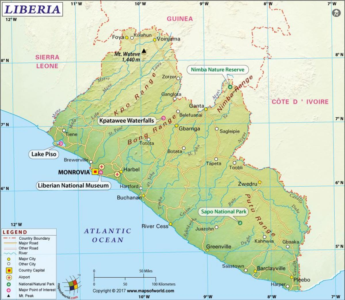 the map of Liberia