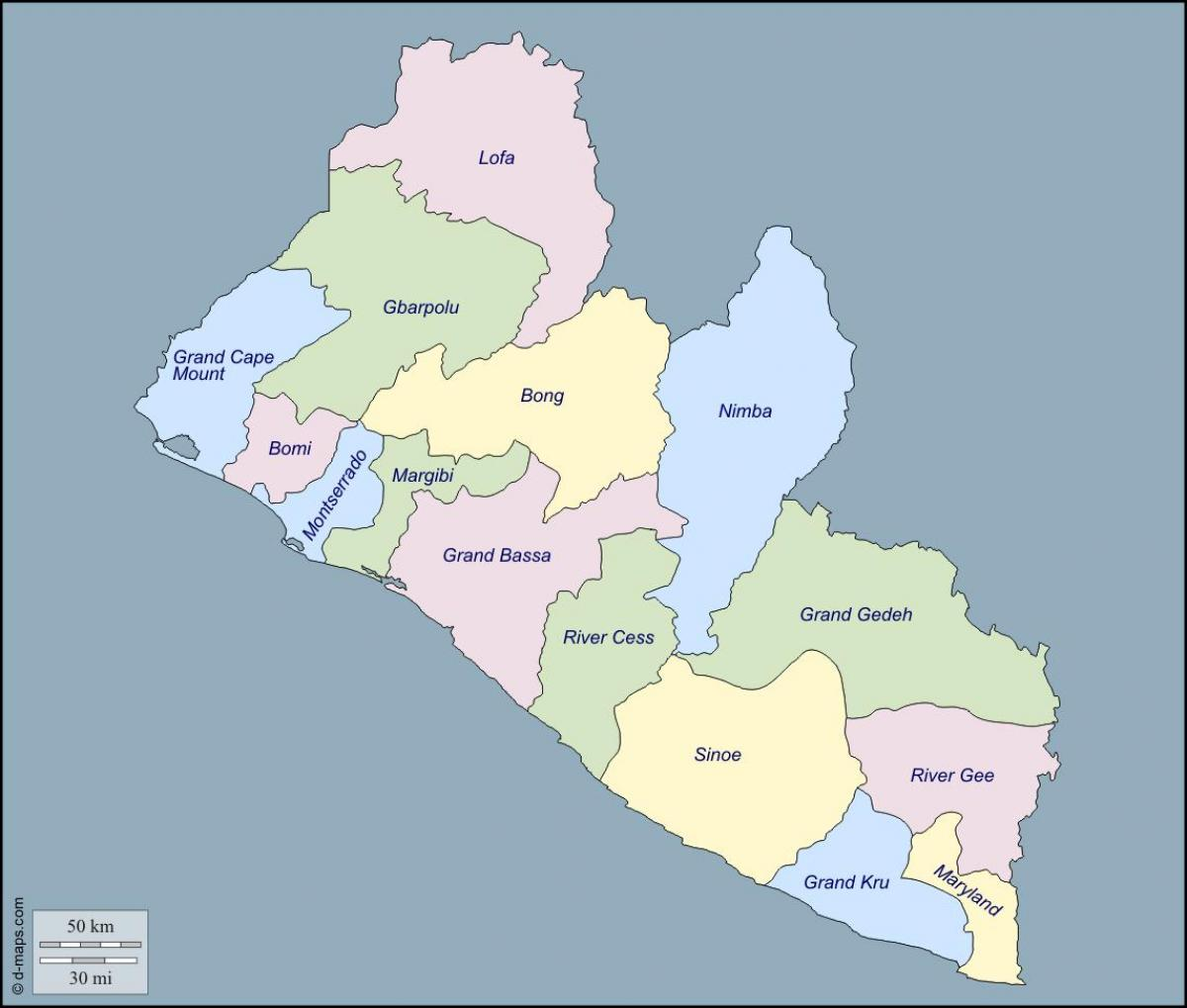 Image of: Map Of Liberia Counties Map Of Liberia Counties Western Africa Africa