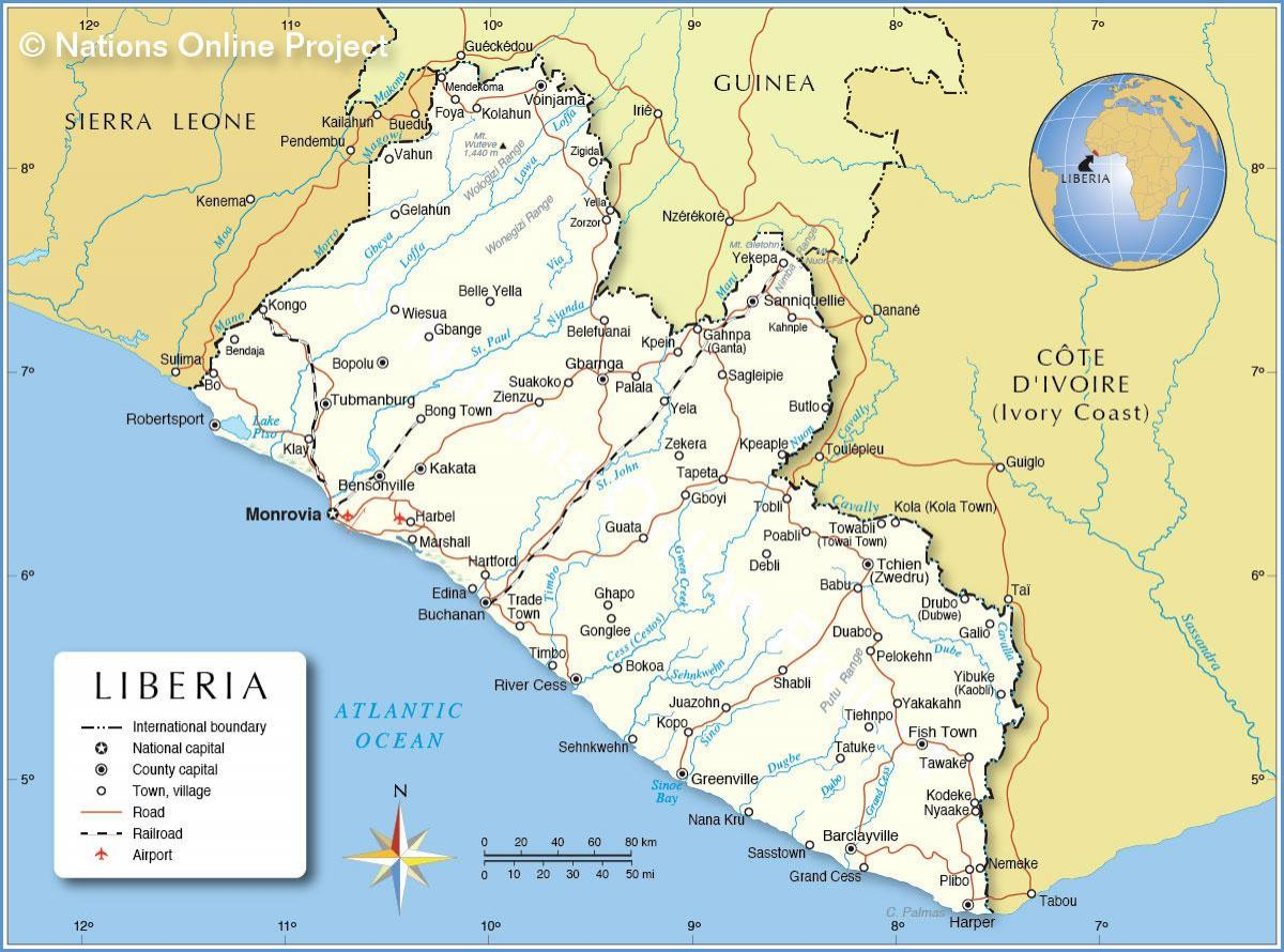 map of Liberia west africa