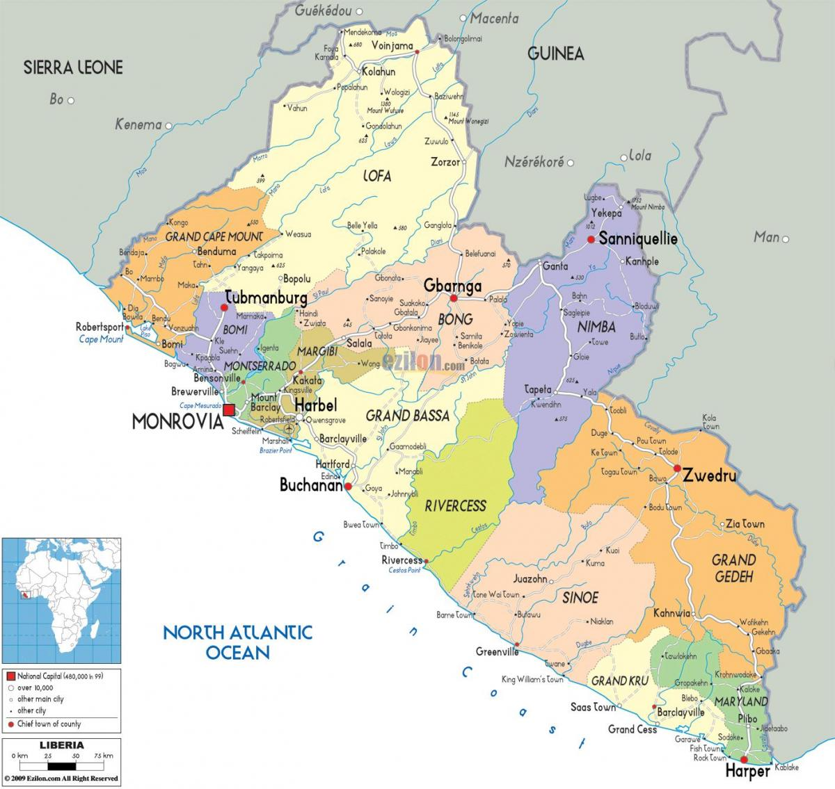 the political map of Liberia