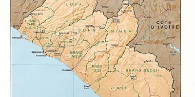 Draw the relief map of Liberia